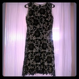 Black and cream lace flower dress size large